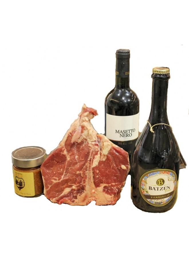 Idea regalo fiorentina con vino o birra